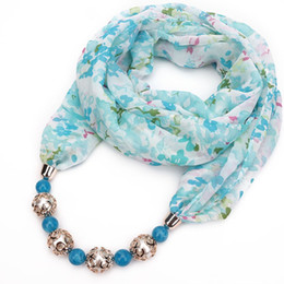 head chain headband Australia - Trendy Chiffon Scarf Ethnic Style Headband Pearl Bead Pendant Necklace Head Scarves Printing Flower Pattern For Women