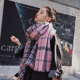 $enCountryForm.capitalKeyWord NZ - cashmere scarf shawl collar color matching grid woman Han edition in the fall and winter of the new joker double warm large imitation
