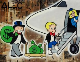 art canvas prints Australia - Handpainted  HD Print Alec Monopoly Graffiti Pop urban street Art Oil Painting Airplane on Canvas office Wall art culture Multi Sizes g241