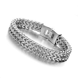 "12mm figaro chain UK - 8.66""12mm Charming Silver Figaro Chain Polished Bracelet Stainless Steel Jewelry Men's  Women's Bangle Wristband Punk Rock Jewel"