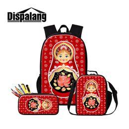 $enCountryForm.capitalKeyWord NZ - Cartoon School Backpack for Girls Russian Doll Printed Satchel Small Zipper Lunch Box Bag Cute Rucksack Mochilas Pencil Cases