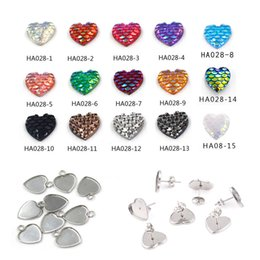 stainless steels accessories Australia - Fashion 12MM Multicolor Love Heart Shape Mermaid Paster Heart Stainless Steel Base Jewelry Accessories for Necklace Earring Jewelry Finding