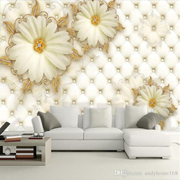 large flower backdrop UK - 5d Custom photo wallpaper 3D leather flower mural reliefs backdrop simple fashion large mural 3d wall murals wallpaper painting