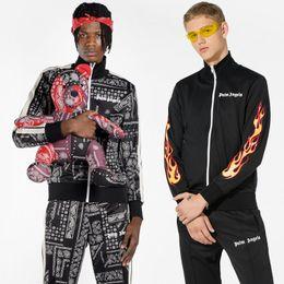 Flame print online shopping - Palm Angels Track Jacket Men Streetwear Vintage Jackets Flame Paisley Print Zipped Hoodie Jacket Palm Angels Tracksuit Jackets Pants NCI0830