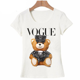 nice girl shirts NZ - 2019 New Summer Fashion Women Short Mouths Nice Vogue Police Bear Teddy T -shirt Girl White Tops Cool Hipster Woman Tees