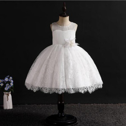 Kids Winter White Dress Australia - 2019 New Brand Girl Dress Bling Beaded Tulle White Lace Layered Girls Wedding Dresses with Upscale Embroidery Flower Kids Clothes 4-14T
