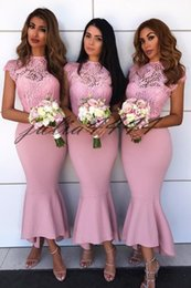 $enCountryForm.capitalKeyWord NZ - Pink High Neck Bridesmaid Dresses Sheer Mesh Top Lace Applique Ankle Length Wedding Guest Maid Of Honor Dress