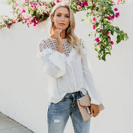 9e35412821ff05 Women Blouses Fashion Lace Hollow Slim Blouse Long Sleeve White Shirt Tops  Stylish Women Girl Tops Autumn