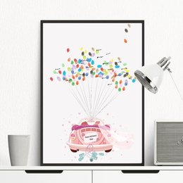 Romantic bedRoom wall aRt online shopping - Home Decor Nordic Canvas Romantic Wedding Pink Car HD Prints Paintings Balloon Modular Pictures Modern Bedroom Wall Art Poster