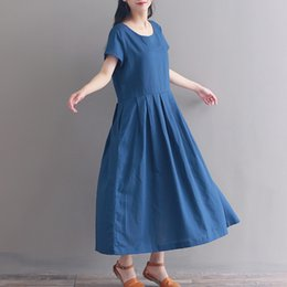$enCountryForm.capitalKeyWord Australia - New Summer Retro Denim Dress Women Loose mori girl Dresses Female Vestido Jean long dress woman