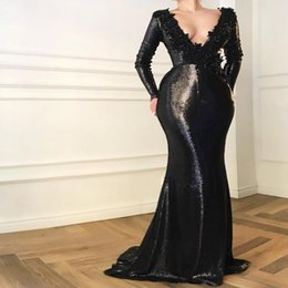 Arabian Plus Size Dresses Australia - 2019 New Design Arabian Dubai Sexy Black Long Sleeve Sequins Evening Dresses V Neck Backless Mermaid Prom Dresses robe de soiree Abendkleid