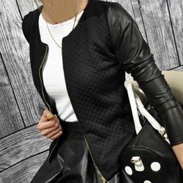 Baseball Jackets Pu NZ - PU Leather Casual Zip Long Sleeve Chic Stylish Top Outwear Parka Coat Zipper Patchwork Baseball Jacket For Women