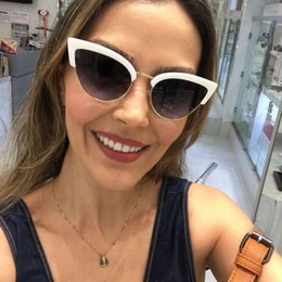 Wholesale Items Sold Australia - Kachawoo Trending Half Frame Sunglasses for Women White Black Sexy Cat Eye Sun Glasses Female Hot Selling Gift Items