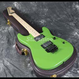 maple guitar necks 2019 - 2019 New Hot Sell Electric Guitar FR Bridge Green Color Maple Neck Standard Size Black Hardware cheap maple guitar necks
