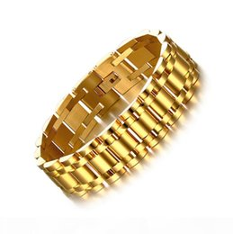 solid 18k bangles NZ - Luxury Mens 15mm 17CM Watch Band Bracelet Gold Silver Plated Stainless Steel Strap Solid Linkks Cuff Bangles Fashion Jewelry Gifts