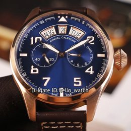 Big pilots watch online shopping - New Special Pilot Little Prince Big Day Date IW502701 Blue Dial Autoamtic Mens Watch Rose Gold Case Brown Leather Strap Gents Watches
