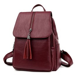 $enCountryForm.capitalKeyWord Australia - Designer-hot female PU Leather backpack minimalist solid black high quality Tassel bags for teenagers girls preppy style String backpacks