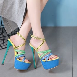 $enCountryForm.capitalKeyWord Australia - 16cm ultra high heels blue green letter bands cross strappy platform shoes party club dance shoes women designer shoes size 35 to 40