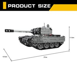 remote tanks toys NZ - 952PCS 2.4G RC Military Tank DIY Assembly set Stainless Steel Remote Control Model Toy Built-in 3.7V 300MAh lithium battery