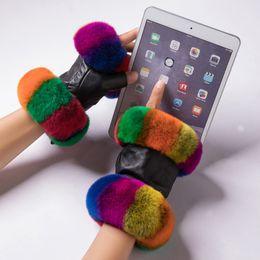 $enCountryForm.capitalKeyWord UK - Women Winter Warmer Wrist Gloves Genuine Leather Rex Rabbit Fur Fingerless Driving Gloves Plaid Sheepskin Mittens womens gloves D19011005