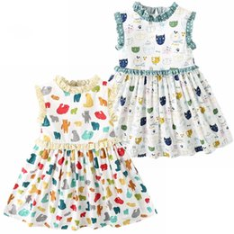 INS Stylish Girl Abbigliamento per bambini Dreeses Summer Girl Elegante senza maniche Cartoon Color Cat Design cotone bambino bambini Princess dress 1-7T