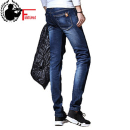 a381bd19 Mens Winter Stretch Thicken Jeans Warm Fleece Lined Straight Jeans Fashion  Velvet Clothing Male Denim Pants Classic Men