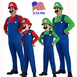 red latex jumpsuit Canada - costumes family Umorden Halloween Costumes Men Super Mario Luigi Brothers Costume Kids Boys Jumpsuit Cosplay Party Game Carnival Fancy Dress