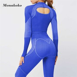 workout crop leggings NZ - Seamless Cotton Yoga Set Sport Outfits Women 2 Piece Open back Tight Long Sleeve Crop top Leggings Workout Gym Suit Fitness Sets