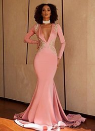 Ivory lace cap sleeve slIm gown online shopping - 2020 Sexy Deep V Neck Long Sleeves Slim Mermaid Prom Dresses Custom Evening Party Gowns With Gold Lace Appliques Special Occasion Wear