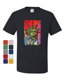 Statue Liberty Paintings Australia - Neon Statue of Liberty T-Shirt Art Painted New York Freedom USA Tee Shirt Men Women Unisex Fashion tshirt Free Shipping black