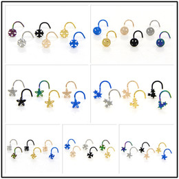 Black Nose Piercing Australia - Gold Silver Black 6 Pcs bag Multiple Cute Stars Flowers Smile Shapes Stainless Steel Nose Ear Piercing Studs Sexy Body Jewelry