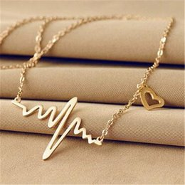 $enCountryForm.capitalKeyWord Australia - Simple Wave Heart Necklace Chic Ecg Pulse Charm Pendant Necklace Lightning Women Vintage Fashion Jewelry Accessories Gold Color