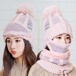 Wool earmuffs online shopping - Knitted Hat Bib One Wool Cap Women s Winter Earmuffs Plus Velvet Warm Hat Hat bib mask Warm Suit