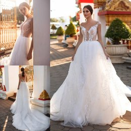 Plunge Wedding Dresses UK - Attractive Beaded Beach Backless Wedding Dresses A Line Sheer Plunging Neck Appliqued Bridal Gowns Tulle Sweep Train robe de mariée