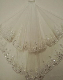Cheap voile online shopping - Cheap Blingbling White Ivory Layers Sequins Wedding Veil With Comb Bridal Veil Party Accessories Voile Mariage Meters
