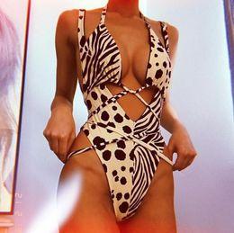 $enCountryForm.capitalKeyWord Australia - Europe and the United States fashion dot leopard stitching bikini ladies one-piece swimsuit sexy print straps swimwear support wholesale fre