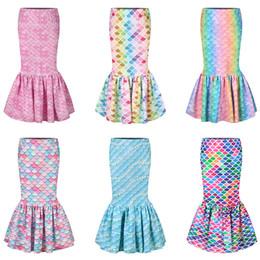 Wholesale mermaid costume girl online – ideas Girl Mermaid Skirt D Fish Scale Printed Dresses sequin Walkable Skirt Girls kids Birthday Party Cosplay Costume fishtail skirts LJJA3767