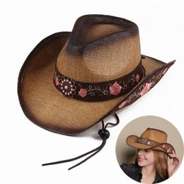 embroidered straw hats Australia - Women Straw Western Cowboy Hat For Summer Elegant Lady Cowgirl Sombrero Hombre Caps With Handmade Embroidery Hats