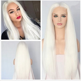 $enCountryForm.capitalKeyWord NZ - Sexy Natural Hairline Long Yaki Straight Synthetic Lace Front Wigs For Women White Color Heat Resistant Glueless Cosplay Beauty Party Wig