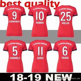 Bayern Munich Women 9 LEWANDOWSKI Jersey 2018 2019 Bundesliga Lady ROBBEN  JAMES MULLER HUMMELS Woman Football Shirt Kits Home Red Green 360ca48fa