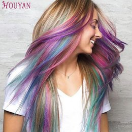 """$enCountryForm.capitalKeyWord Australia - 22"""" Long Straight Hairpiece Colored Highlight Synthetic Hair Extensions Clip In One Piece Color Strips Hair Accessories HOUYAN"""