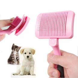 wire hair combs Australia - Pet Self Cleaning Steel Wire Comb Dogs Grooming Comb For Removing Loose Hair