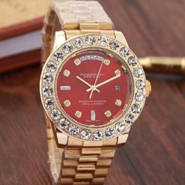 Large Wrist Watches Australia - 2019 Top Brand Men Business Watch Luxury Diamond Quartz Watches Gold Stainless Band RED Large Dial Double Calendar Wrist watch Male 44MM