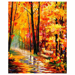 "$enCountryForm.capitalKeyWord Australia - 24""x48"" Red leaf tree hand drawn canvas oil painting autumn forest sofa background wall painting staircase porch decorative painting"