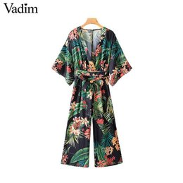 jumpsuits patterns NZ - Vadim Women Vintage Print Pattern Long Jumpsuit V Neck Bow Tie Sashes Backless Pockets Female Causal Beach Wear Tops Ka655 Y19071701