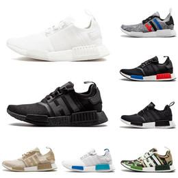 huge selection of 660dd 47395 Adidas NMD R1 pas cher R1 Hommes Chaussures De Course Triple noir Blanc  Beige Blanc Bleu NBHD OG Hommes Femmes Runner Sports baskets 36-45