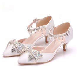 Heels Inches Australia - Lady Fashion Single Shoes 2 Inches Low Heel Wedding Shoes Pointed Toe Summer Rhinestone Bowtie Women Party Prom Shoes
