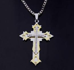 Flame Chain Australia - Multi-layer, three-layer, drill-inlaid, male pendant, domineering flame, titanium steel necklace head of Jesus Cross