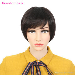 glueless lace wigs for black women Canada - Short none Lace Human Hair Wigs With Bangs Virgin Indian Glueless Natural black Short Human Hair Wig For Black Women