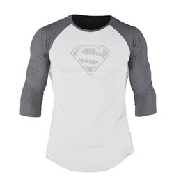 superman fitness shirt Australia - Designer Autumn and Winter New Superman Print Fitness T shirt Contrast Color Seven-point Sleeves Slim Training Pullover Bottoming Shirt Men